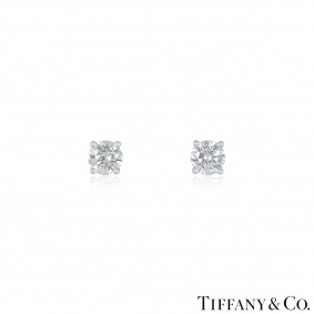 Tiffany & Co. Diamond Platinum Stud Earrings 2.02ct TDW I/VS1